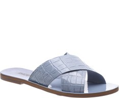 Rasteira Tiras Cruzadas Croco Jeans