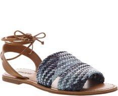 Sandália Rasteira Trança Tricolor Azul