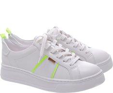 Tênis Dani Sola Alta Branco e Verde Neon