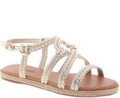 Sandália Rasteira Cordas Metalizadas Dourada